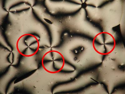 Image of schlieren brushes innematic liquid