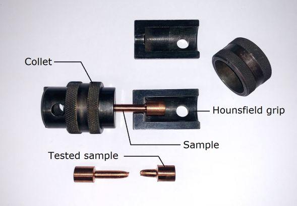 Tensile test sample set up